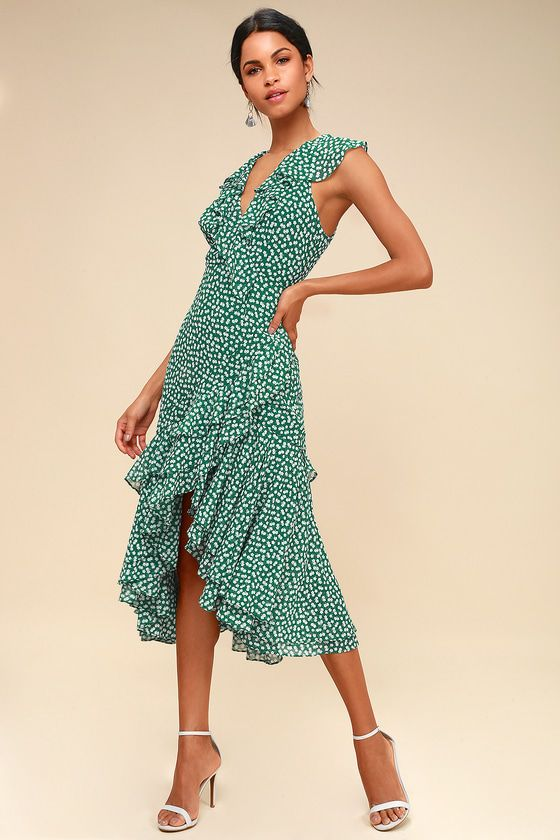 4c206ad2fdd Be About You Green Floral Print Asymmetrical Midi Dress in 2019 ...