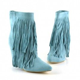Sooo hot! Cizme scurte cu franjuri albastre/bleu deschis