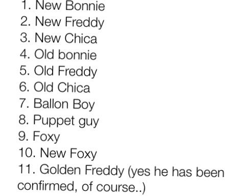 On 5 nights at freddy pinterest the characters the list and fnaf