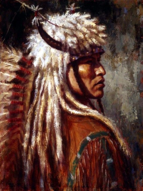 Oil Painting Ancient American Indians