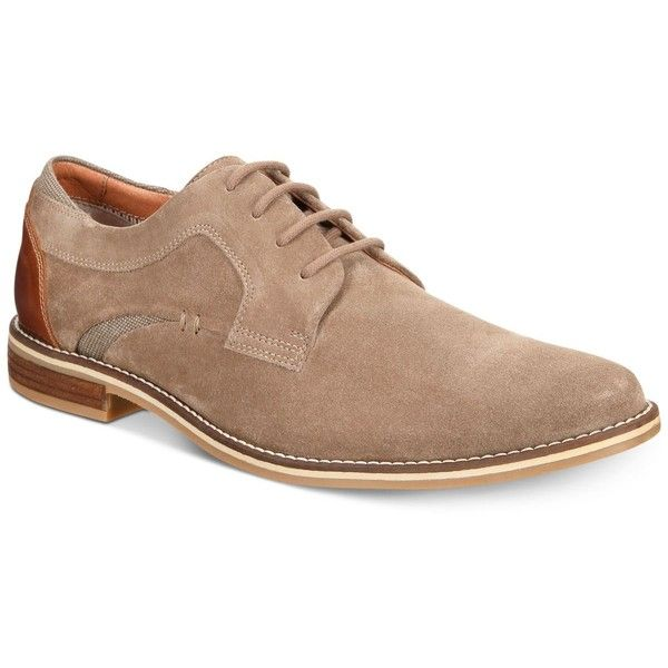Alfani Men's Kevin Suede Oxfords, Created for Macy's (290 BRL) ❤ liked on Polyvore featuring men's fashion, men's shoes, men's oxfords, light tan suede, mens tan suede shoes, mens tan shoes, mens shoes, mens suede oxford shoes and mens suede shoes