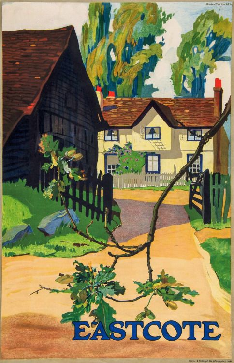 The bucolic charms of Eastcote, as depicted in 1920 by Emilio Camilio Leopoldo Tafani, for the London Underground Group. (Eastcote today: http://bit.ly/2caLZiM)