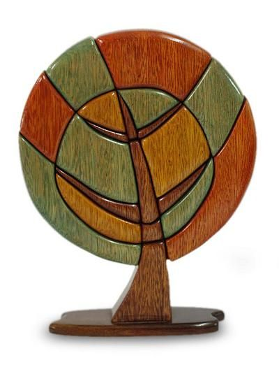 Handcrafted Leaf and Tree Wood Sculpture - Tree of Peace | NOVICA