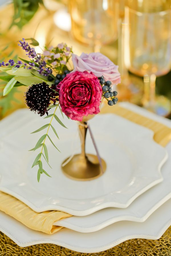 Petite Purple Floral Arrangements at Each Place Setting | Modern Glam Autumn Wedding in Fig and Gold | Pepper Nix Photography and Michelle Leo Events