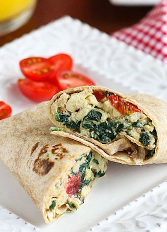 Switch up your breakfast wrap with some feta cheese using this Scrambled Egg Wrap with Spinach, Tomato and Feta Cheese from the Cookin' Canuk!