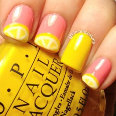 Check out all the nail art possibilities for short nails! Lemon nails, polka dots, stripes, orange, pink, glitter nails | Nail Trends: Nail Art for Short Nails, IG@kirstenposluns, Nails of Instagram | Nailpro Magazine