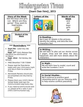 This is a sample newsletter that was created for Kindergarten. Please edit to fit your needs.