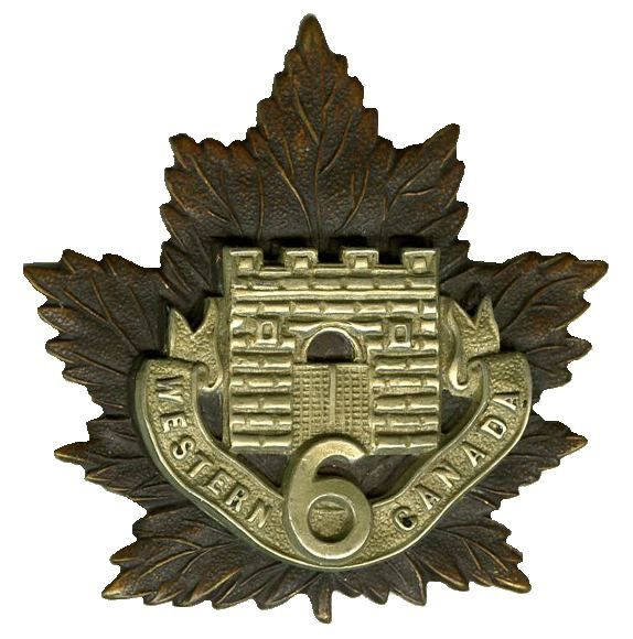 """CEF - Cap Badge - 6th Canadian Infantry Battalion - """"Fort Garry Horse"""" - Winnipeg, Manitoba. The structure on the Maple Leaf is the front gate of Upper Fort Garry. WW1."""