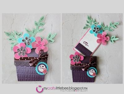 Tarjeta para el dia de las madres en forma de canastita de flores.