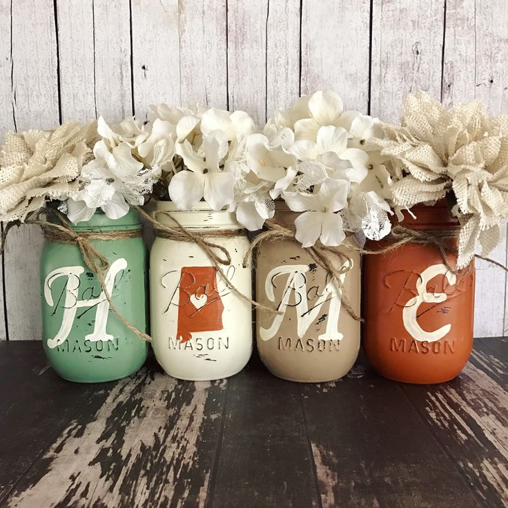 Home State Mason jar set | sage orange and tan | rustic home decor | farmhouse decor | state outline