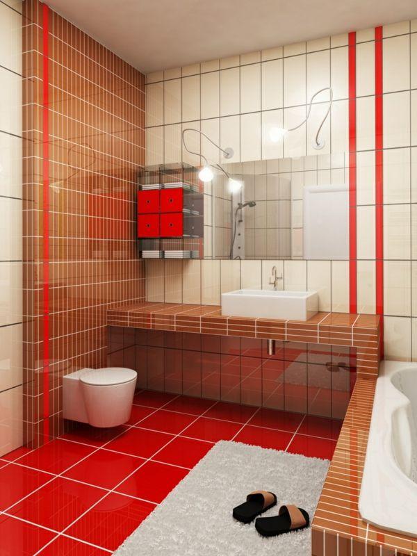 Kleines Badezimmer Fliesengestaltung Weiß Braun Rot