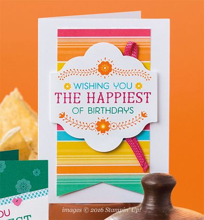 Stampin' Up! Festive Birthday Designer Series Paper card shared by Dawn Olchefske #dostamping
