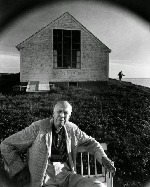 Edward Hopper sitting outdoors on the north side of his studio - Arnold Newman (Artsy) 1960. American photographer 1918-2006