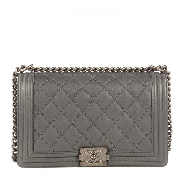 CHANEL Calfskin Double Stitch New Medium Boy Flap Grey ❤ liked on Polyvore featuring bags, handbags, chanel handbags, grey purse, chanel shoulder bag, chain strap purse and shoulder handbags