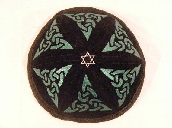Black velveteen Celtic design jewish kippah ( yarmulke ).
