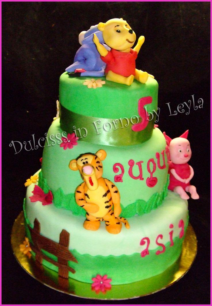 Torta Winnie The Pooh, Tigro, Pimpi e Ih – Oh, decorata in pasta di zucchero