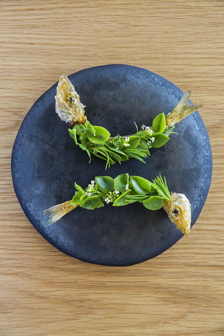 Chippendale restaurant Silverye serves up bones of whole red spotted whiting fish fried and filled with the filleted meat, oyster and parsley creams, with beach succulents – samphire, sea blight, warrigal greens, ice plant and sorrel from South Sydney