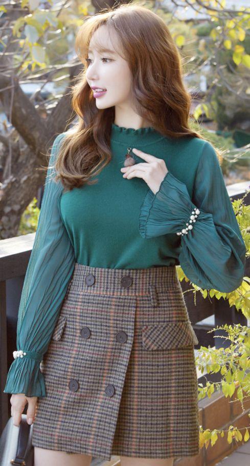 StyleOnme_Check Print Double-Breasted Belted Wrap Skort #check #miniskirt #pants #koreanfashion #kstyle #kfashion #falltrend #seoul #dailylook