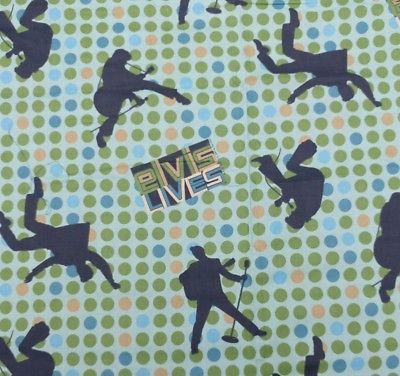Retro Style Elvis Lives Fabric with Polka Dots Elvis Signing and Dancing
