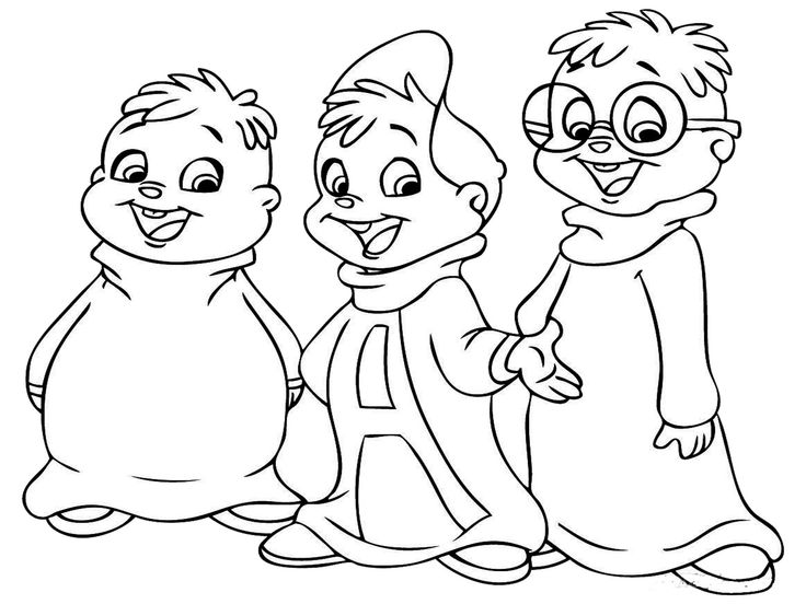 alvin and the chipmunks simon and theodore coloring page