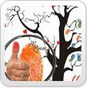 Fingerabdrücke der Hochzeitsgäste auf Leinwand - das völlig neue Gästebuch auf 60x60 cm Leinwand als Hochzeitsbaum (fingerprint tree) - Hochzeitsspiel und -geschenk
