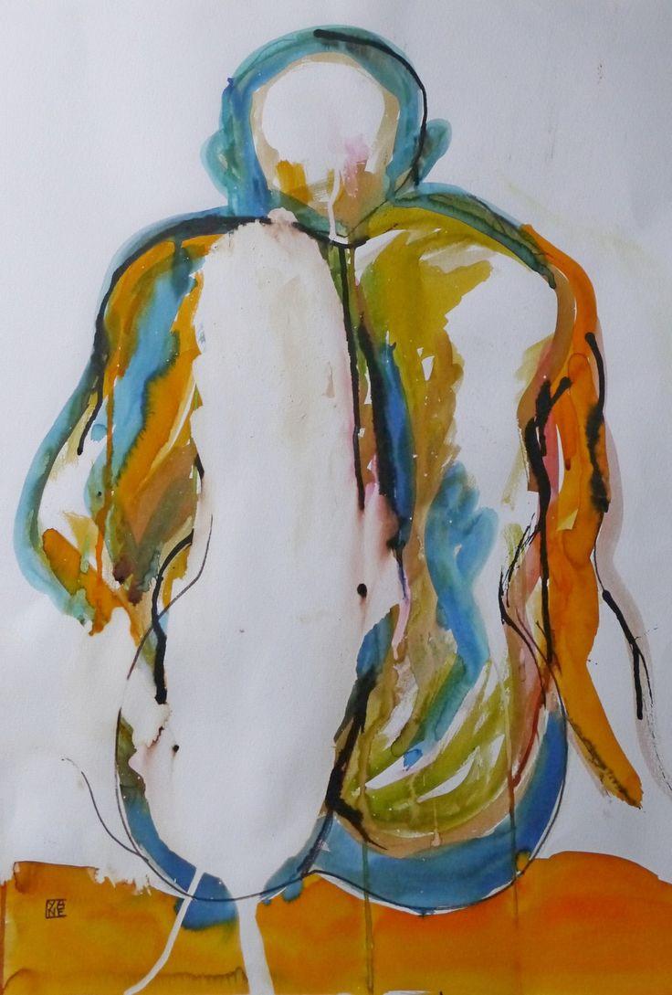 tableau nu peinture contemporaine Anthony, modèle vivant, techniques mixtes : Peintures par cyane