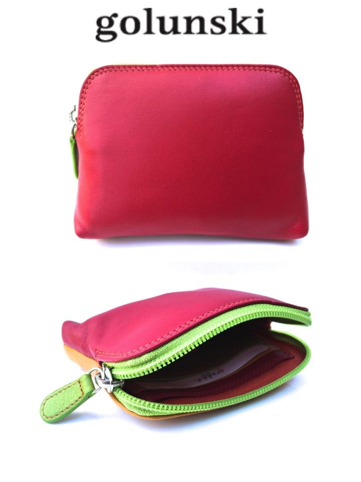 Style 143: Golunski Small Soft Leather Credit Card Holder Coin Zip Purse In Spice