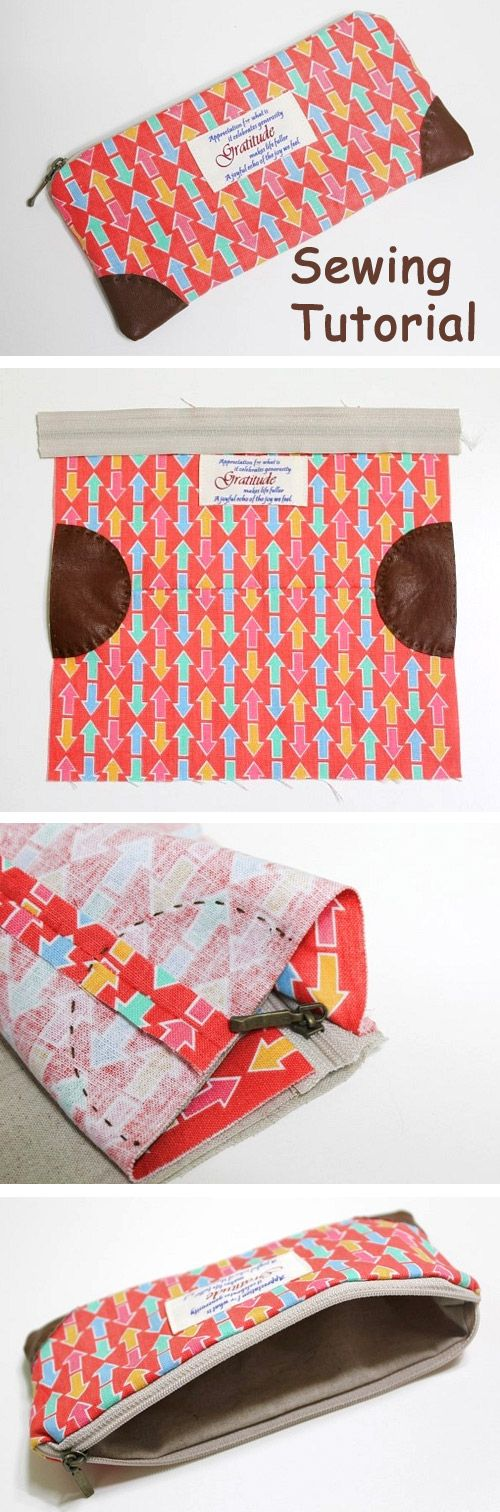 How to sew a pencil case or cosmetics bag with a zip. DIY in pictures tutorial.  http://www.handmadiya.com/2015/10/zipper-pencil-case_21.html