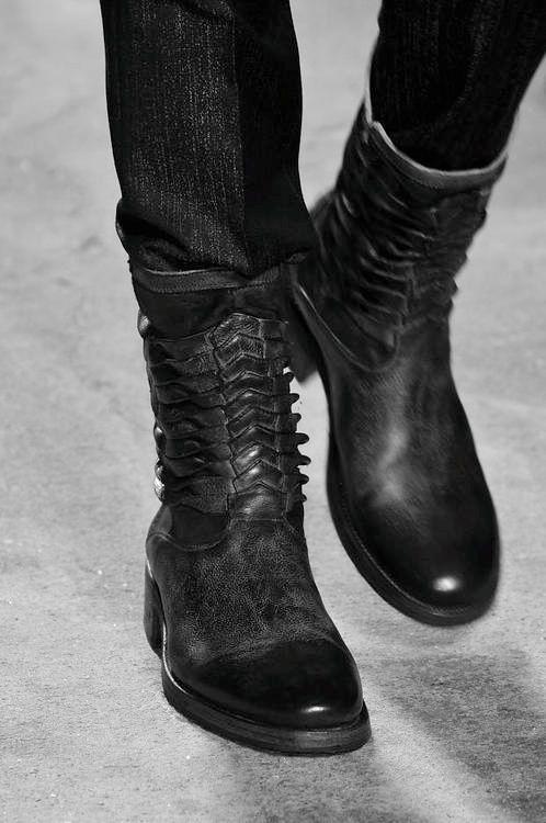 black boots, detail :a/w 2014 menswear. John Varvatos.
