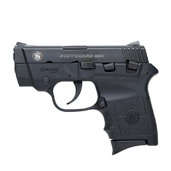 """Smith & Wesson 380 Bodyguard. This is the latest in the class of .380 ACP semi-auto """"pocket pistols"""". It comes with an integrated laser, and the barrel has a safety feature. It's lightweight & easy for any female to use. (Men like this gun as well -less bulk)"""