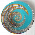 African Zulu woven telephone wire bowl – Large shallow bowl – Turquoise and multicolour