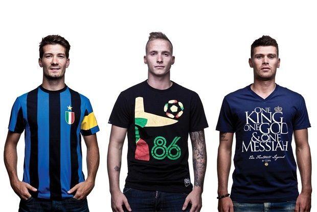 Futbol ve tasarım bir araya geldi; ünlü futbolcular Edouard Duplan, Danny Holla ve Alexander Büttner, Copa Football ilkbahar / yaz futbol temalı tasarım tişörtler koleksiyonu için poz verdi