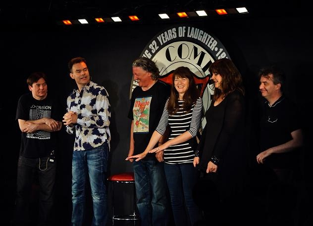 I was there that night! One of my best memories. From left to right: Mike Myers, Neil Mullarkey, Andy Smart, Suki Webster, Josie Lawrence and Phelim McDermott. Richard Vranch was also playing that night. (Comedy Store, London)