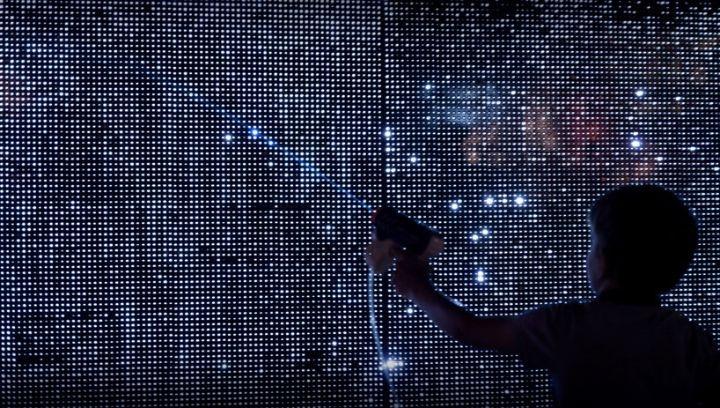 Interactive water light graffiti wall