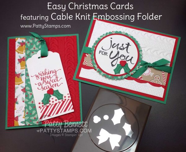 Easy Christmas Cards with Cable Knit Embossing Folder