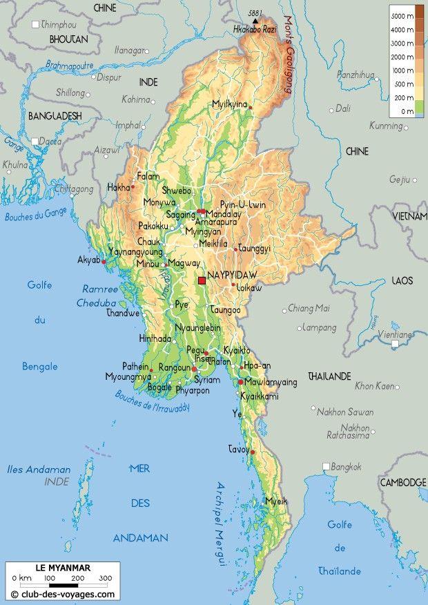 Carte Birmanie Myanmar | Brahmapoutre, Carte, Pays