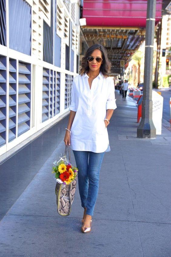 White tunic button down, skinny jeans & metallic flats