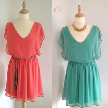 Vestidos cortos coral y verde aguaClothing, Charms Style, Design Fashion, Fashion Inspiration, Outer Wear, Perfect Fashion