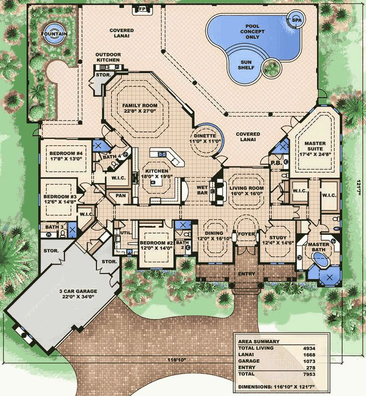669 best house plans images on pinterest dream houses for Florida house plans with lanai