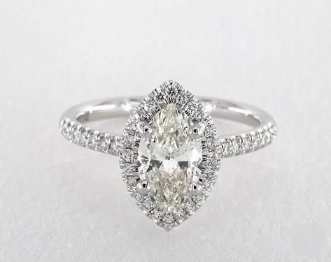 1ct Marquise Halo Engagement Ring in 360-HD SuperZoom (White Gold)