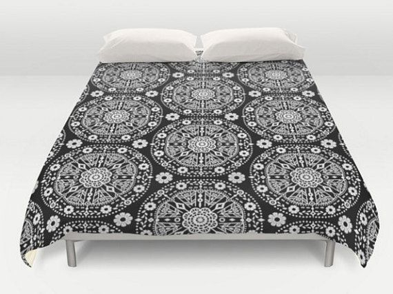 Black White Bedding, Boho Duvet Cover, Bohemian Bedding, Black Bed Cover, Pattern Comforter, King Queen Full Twin, Size, Floral Comforter