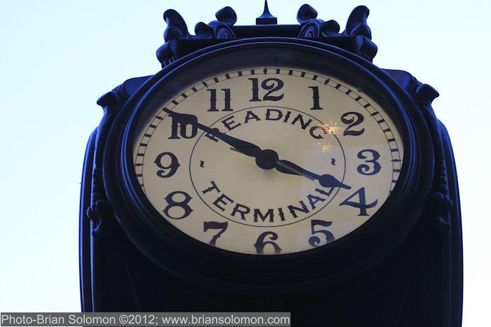 Reading Railroad Terminal clock on Market street in Philadelphia ~ Photo by...Brian Solomon©