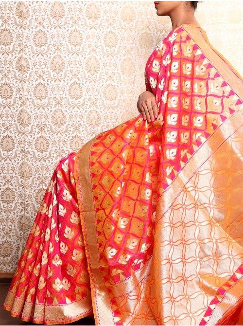 Pink Banarasi Cutwork Kora (Organza) Silk Saree