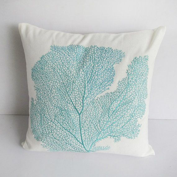 Coastal inspired throw pillow and cushion cover made with off white hand loom fabric with aqua blue coral fan embroidery. A lovely detailed