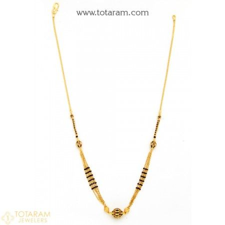 22K Gold Necklace for Women with Black Beads - 235-GN3062 - Buy this Latest Indian Gold Jewelry Design in 12.350 Grams for a low price of  $758.99