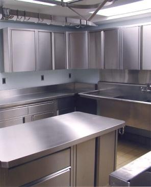 Stainless steel cabinets give a neat restaurant kitchen feel