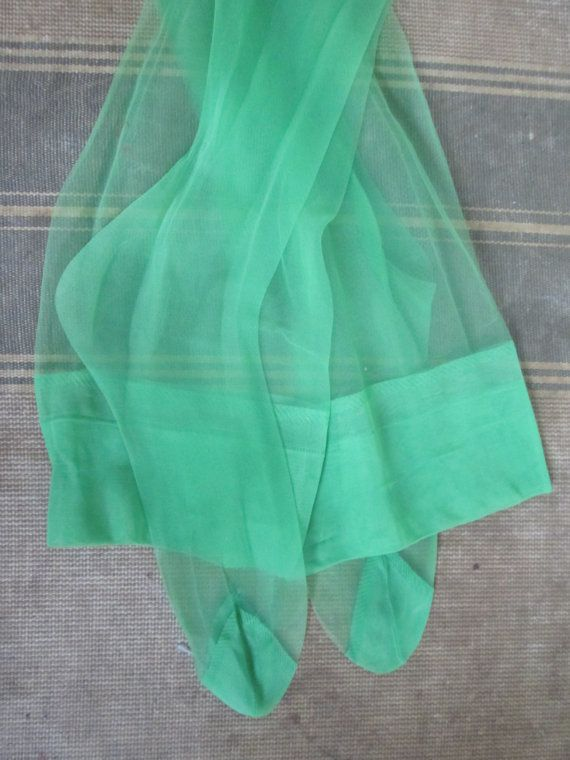 Green Sheer Nylon Stocking Mod Vintage 1960s by looseendsvintage, $12.00