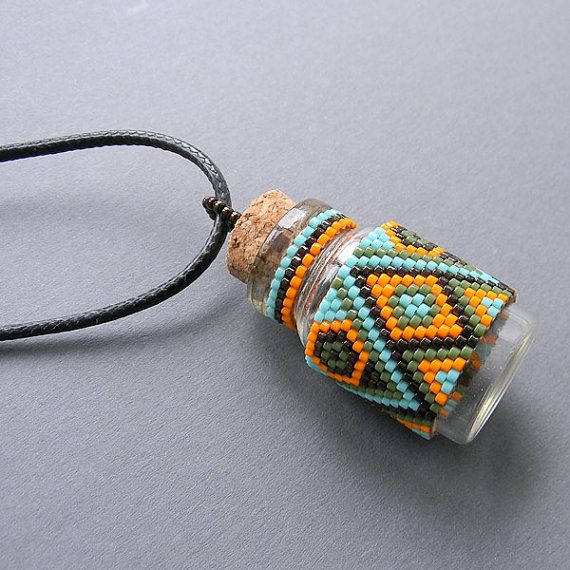 Beaded bottle pendant  glass bottle necklace  by Anabel27shop