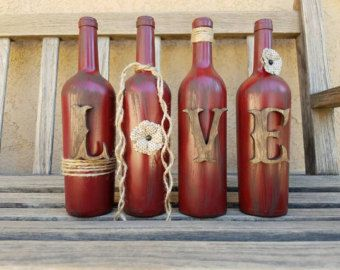 Home wine bottle mantle or shelf decor rustic by RusticHousewives