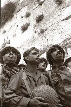 1967. After a surprise attack on Egyptian airfields, Israel takes the Gaza Strip, Sinai Peninsula, the West Bank, East Jerusalem, and the Golan Heights. IDF paratroopers at Jerusalem's Western Wall shortly after its capture.